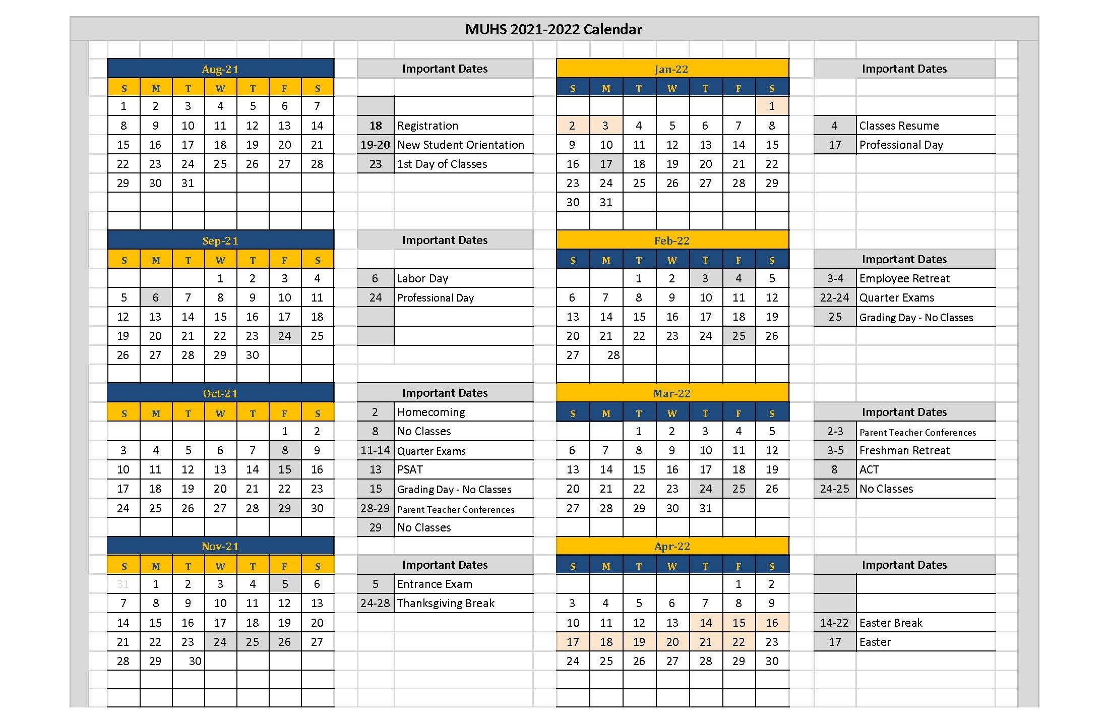 Marquette Academic Calendar 2022.School Academic Calendar Marquette University High School Milwaukee
